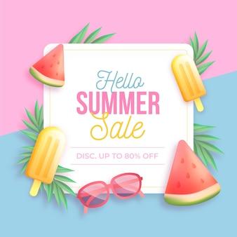 Illustration réaliste de vente d'été bonjour
