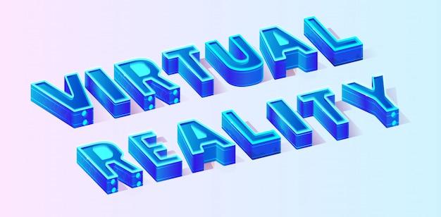 Illustration de réalité virtuelle de texte vectoriel isométrique