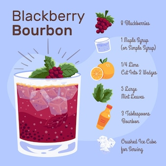 Illustration de recette de cocktail blackberry bourbon