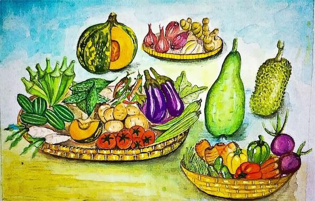 Illustration de recette de divers aliments aquarelle dessinés à la main