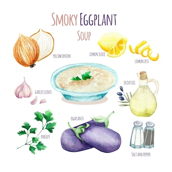Illustration de recette de soupe aubergine fumée saine