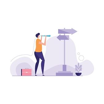 Illustration de la recherche de la bonne voie