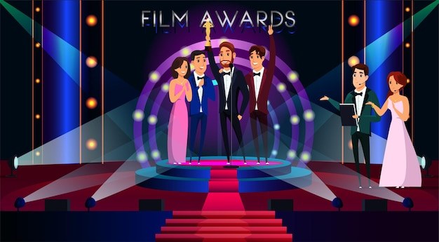 Illustration des récompenses du film un acteur célèbre obtenant un prix d'or des célébrités souriantes debout sur scène