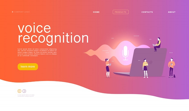 Illustration de reconnaissance vocale plate. conception de la page de destination. personnes, ordinateur portable avec ondes sonores et icône dynamique du microphone.