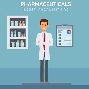 Illustration de recrutement de personnel de pharmacie