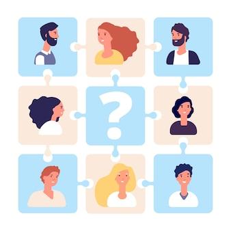 Illustration de recrutement. puzzle d'équipe commerciale sans chef d'équipe. gestion rh, agence pour l'emploi