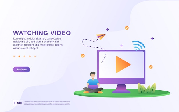 Illustration de regarder un didacticiel vidéo sur ordinateur.
