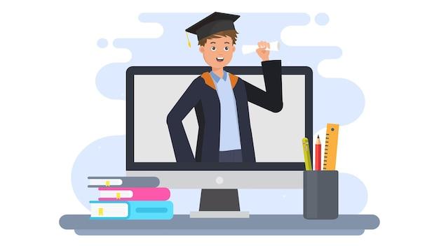 Illustration de remise des diplômes en ligne