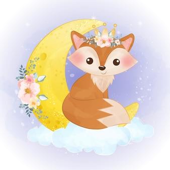 Illustration de renard bébé mignon