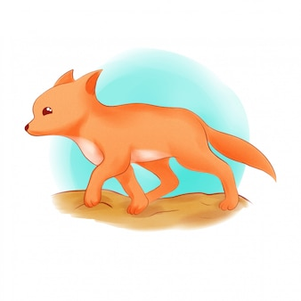 illustration de renard en cours d'exécution dessiné à la main