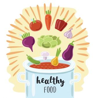 Illustration rendue d'une marmite pleine de légumes