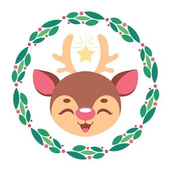 Illustration d & # 39; un renne mignon avec une couronne de noël stylisée