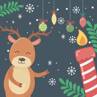 Illustration de rennes, boules, bougies et feuilles