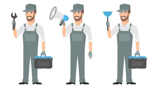Illustration, réparateur tenant des outils clé mégaphone plongeur, format eps 10