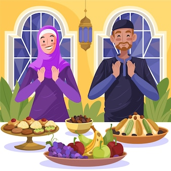 Illustration de repas iftar dessiné à la main