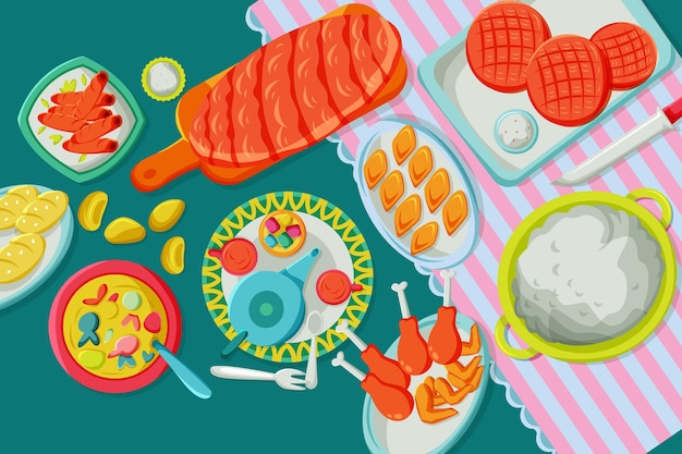 Illustration de repas plat iftar