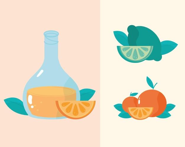 Illustration de repas sain de jus de fruits orange et citron