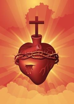 Une illustration de la représentation de la religion catholique, jésus-christ. sacre coeur. série biblique