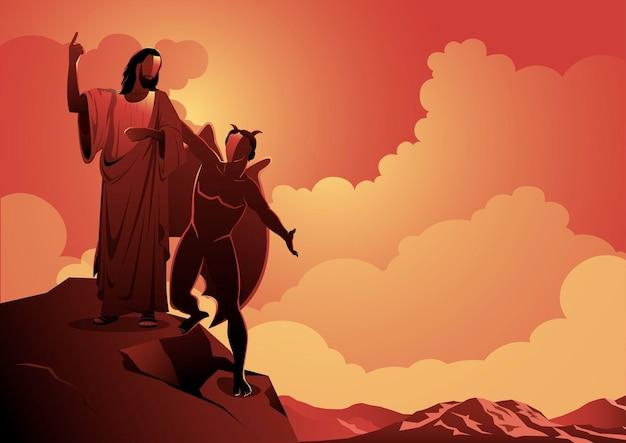 Une illustration de la représentation de la tentation de satan à jésus-christ. série biblique