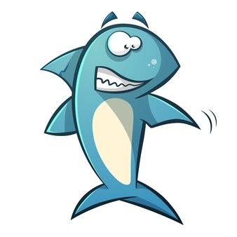 Illustration de requin de dessin animé de ligne noire.