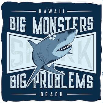 Une illustration de requin avec du texte autour d'elle jpg dessinée à la main