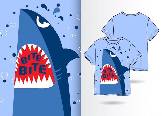 Illustration de requin mignon dessiné à la main avec la conception de t-shirt