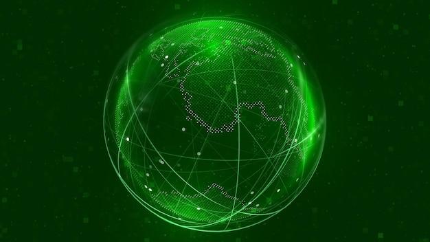 Illustration de réseau de globe terrestre numérique 3d globe fond de carte de la terre numérique