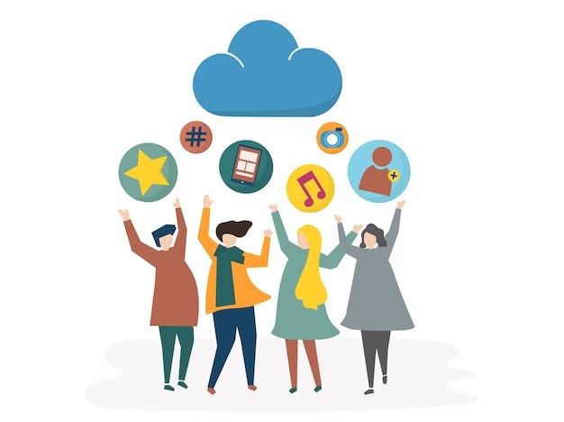 Illustration de réseau social et concept de partage