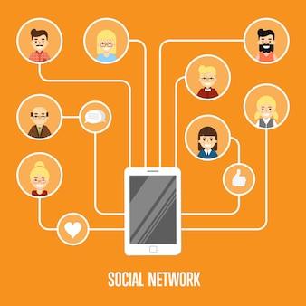 Illustration de réseau social avec des personnes connectées