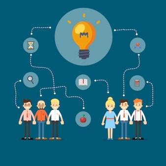 Illustration de réseau social et de travail d'équipe