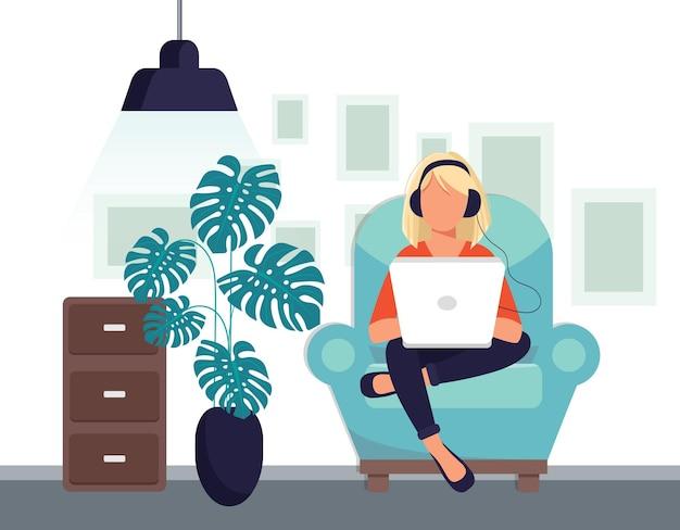 Illustration de réseautage social. femme avec des écouteurs à l'aide d'un ordinateur portable