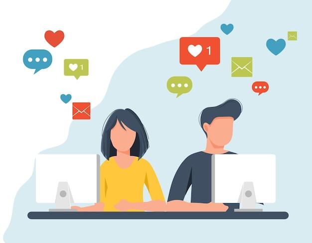 Illustration de réseautage social