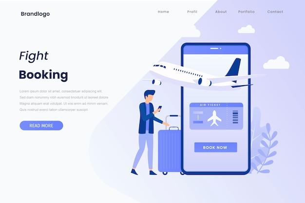 Illustration de la réservation en ligne des billets d'avion page de destination
