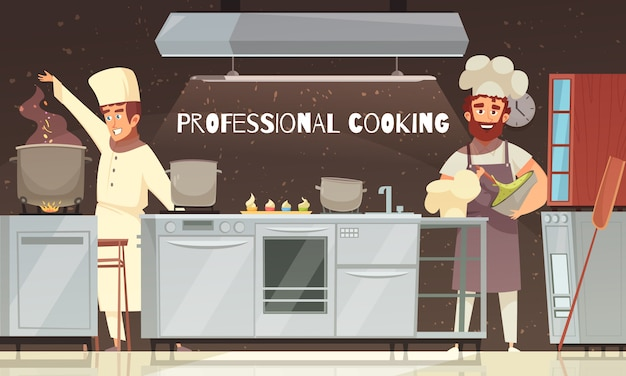 Illustration de restaurant de cuisine professionnelle