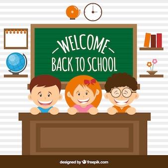 Illustration de retour à l'école avec des enfants derrière le bureau