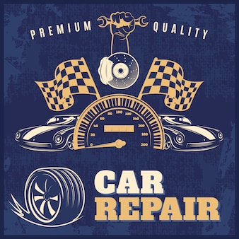 Illustration rétro bleue de réparation de voiture avec des titres de qualité supérieure et vecteur de réparation de voiture