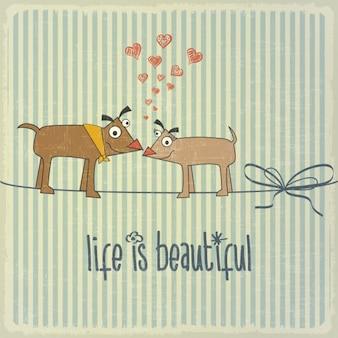 Illustration rétro avec couple heureux chiens dans l'amour et la phrase la vie est belle