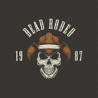 Illustration rétro de crâne de cowboy