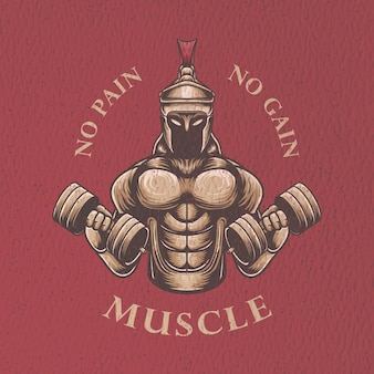Illustration rétro de gymnase de guerrier pour la conception de tshirt et la conception d'affiche