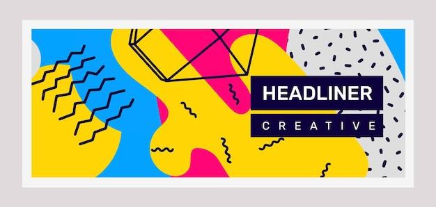 Illustration rétro horizontale lumineuse créative avec abstraction de forme dans le cadre avec en-tête