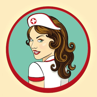 Illustration rétro d'infirmière sexy