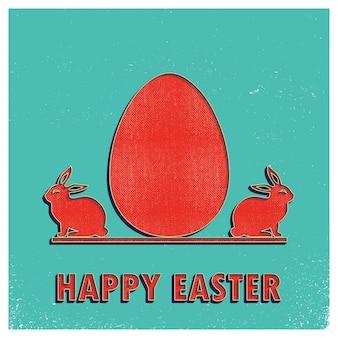 Illustration rétro d'oeufs de pâques et de lapins pour le fond de vacances. carte de style créatif et vintage