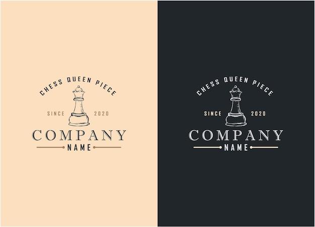 Illustration rétro vintage échecs reine logo sport signe