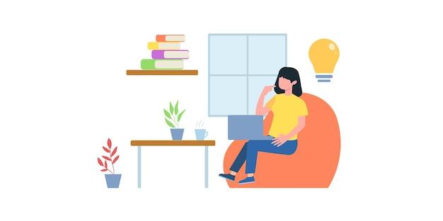 Illustration de réunion d'affaires en ligne. cours en ligne. femme ayant une conférence téléphonique avec son équipe commerciale en ligne