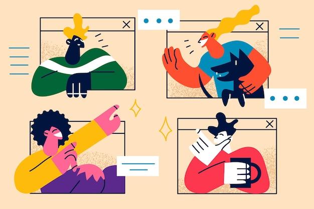 Illustration de réunion ou d'éducation en ligne