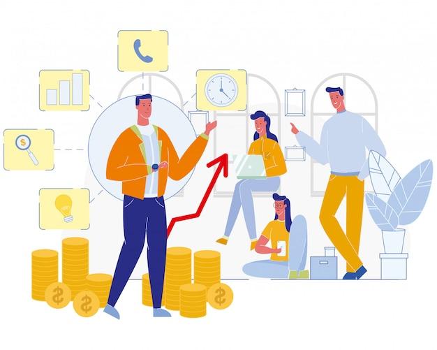Illustration de réunion d'équipe de bureau de coaching d'affaires