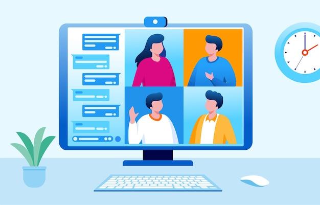 Illustration de réunion de groupe en ligne