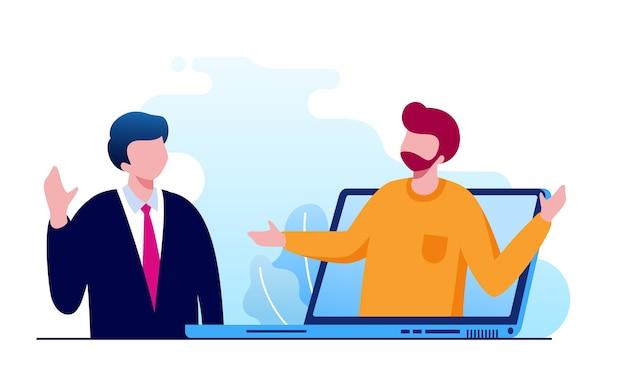 Illustration de la réunion virtuelle en ligne