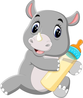 Illustration de rhinocéros mignon tenant la bouteille de lait
