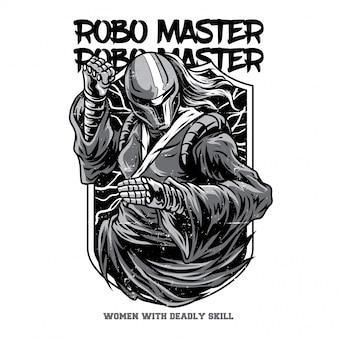 Illustration robo master en noir et blanc